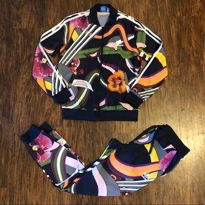 Adidas S Floral Burst Joggers & Jacket Track Set